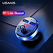 FM-трансмітер модулятор Usams з Bluetooth USB flash 15W 2xUSB Black (US-CC062-BL), фото 3
