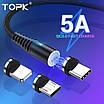 Магнітний кабель синхронізації Topk 3в1 1m 5A 360° Чорний (TK08-3-VER2-BL), фото 4