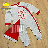 Новогодний человечек р 74 5-7 мес комбинезон костюм для малышей на Новый год Happy new year 8027 Серый