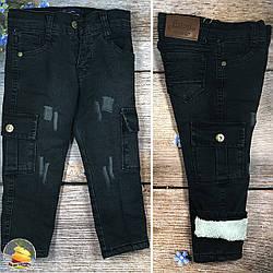 Теплі дитячі джинси, з накладними кишенями Розміри: 1,2,3,4,5 років (01132-2)
