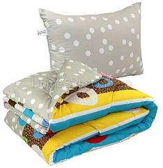 Одеяло полуторное 140x205 с подушкой 50х70 двустороннее стеганное 200 г/м2