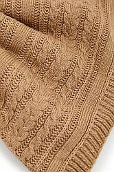 Вязаное покрывало (плед) с наволочками. Коричневый (кемел). Состав 70% акрил / 30% шерсть, 220х240