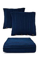 Вязаное покрывало (плед) с наволочками. Цвет темно-синий. Состав 70% акрил / 30% шерсть, 220х240 см