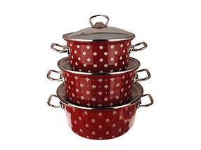 Набір емальованого посуду Idilia Саксонія червона 3 предмета 2л/3л/4л (№1800)
