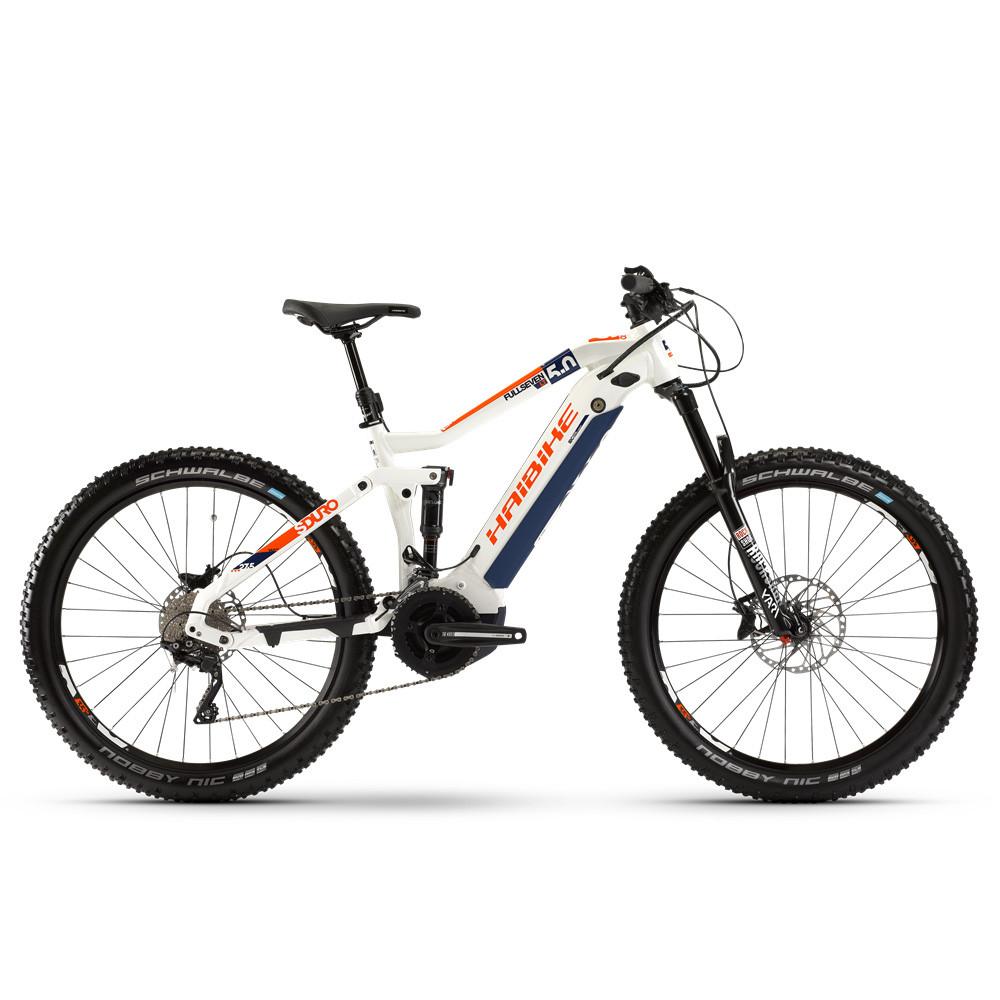 """Электровелосипед Haibike SDURO FullSeven LT 5.0 i500Wh 20 s. XT 27,5"""", рама L, бело-синий-оранжевый, 2020 (AS)"""
