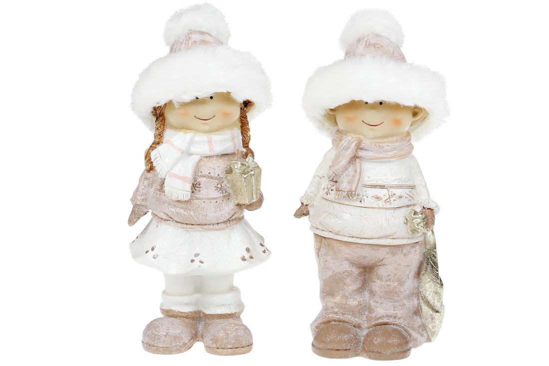 Декоративная фигурка Дети в меховых шапках, 19см, 2 вида, цвет - розовый, в упаковке 2шт. (823-814)