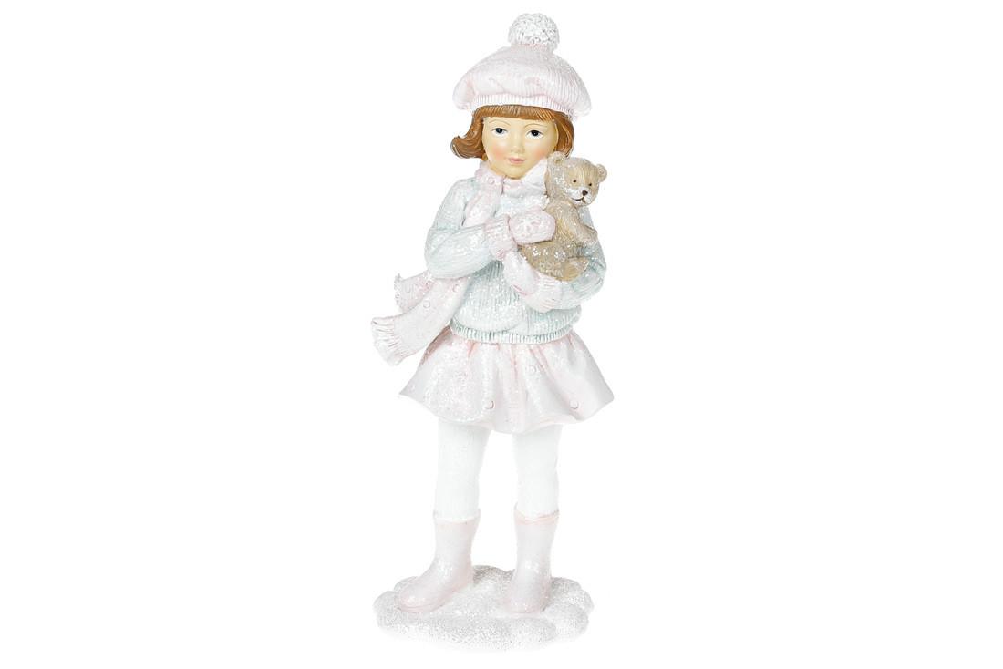 Декоративная статуэтка Девочка с мишкой, 21см, цвет - розовый с мятным (707-339)