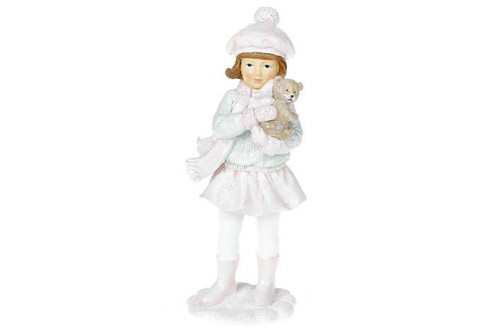 Декоративная статуэтка Девочка с мишкой, 21см, цвет - розовый с мятным (707-339), фото 2