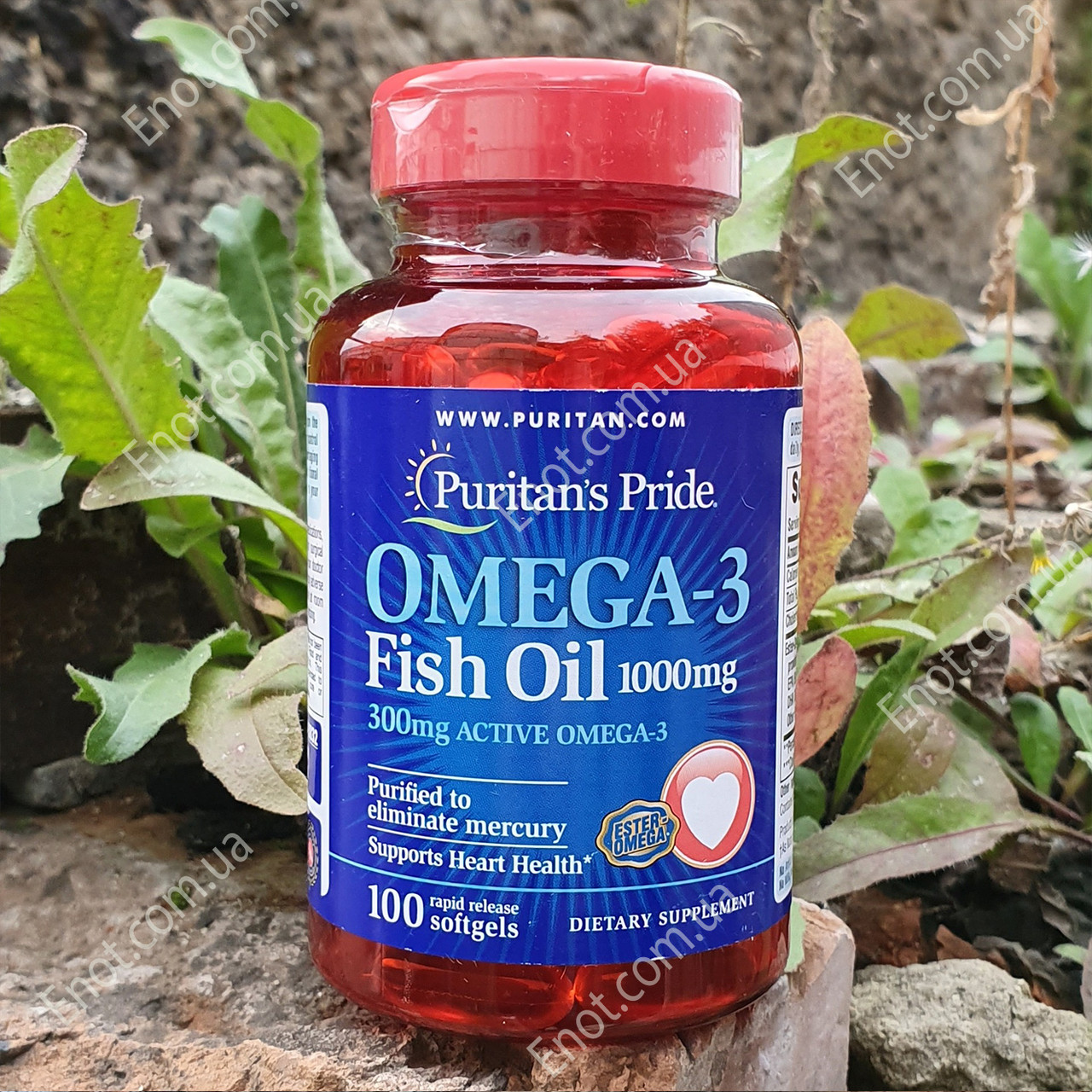 Рыбий жир Puritan's Pride Omega-3 Fish Oil 1000 мг (300 мг Active Omega-3) 100 гелевых капсул