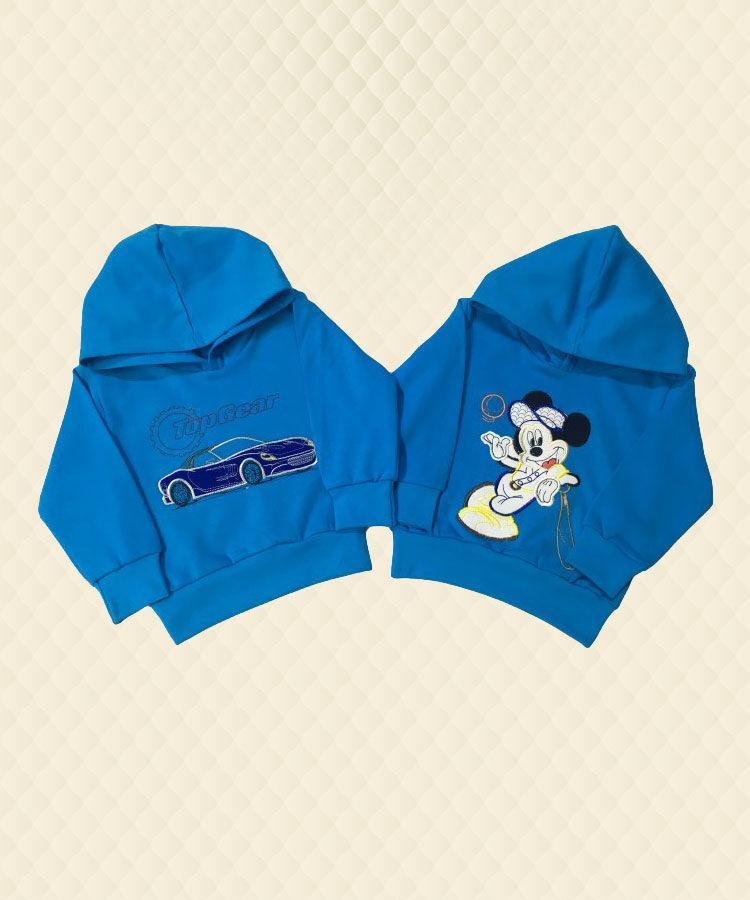 Джемпер для мальчика Машина/Микки с капюшоном и аппликацией начёс