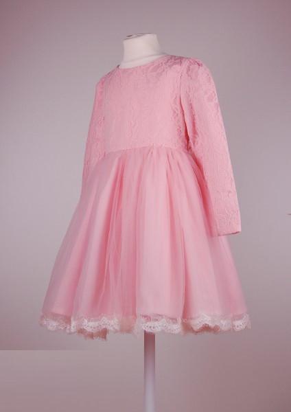 Розовое нарядное платье с длинными рукавами для  девочек 4-9 лет