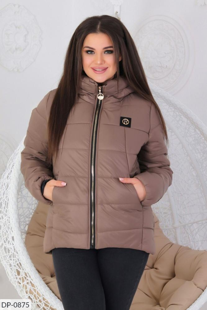 Женская демисезонная куртка на молнии больших размеров