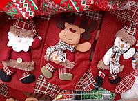 Большой рождественский сапог для подарков. Украшение на камин.