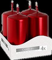 Декоративные свечи, комплект из 4-х шт BISPOL sw40/80-x красный перламутр (8 см)