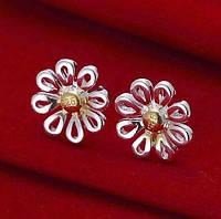 Посеребрённые серьги Цветы ромашки, фото 1