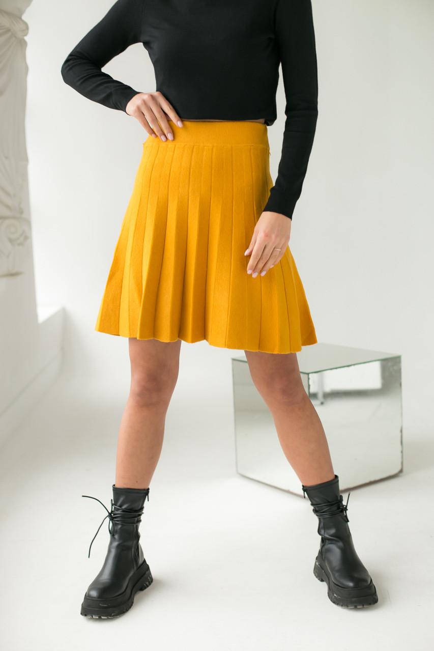 Стильная юбка клеш ebelieve - горчичный цвет, L/XL (есть размеры)