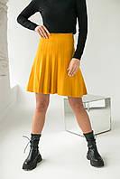 Стильная юбка клеш ebelieve - горчичный цвет, L/XL (есть размеры), фото 1