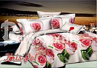 """Комплект постельного белья  Евро двуспальный, 3D """"Розы с жемчугом на белом"""""""