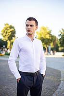 """Модна чоловіча однотонна бавовняна сорочка з довгим рукавом """"Орел"""" біла - XL, 2XL"""