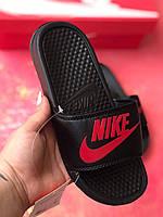 Сланці/шльопанці Nike жіночі(чорно-червоні)/ шльопанці/ тапки найк/шльопанці/тапочки