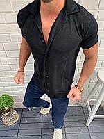 Чоловіча літня сорочка-шведка чорна з коротким рукавом