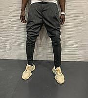 Мужские осенне-весенние зауженные черные брюки в полоску - 30, 31, 32, 34, 36