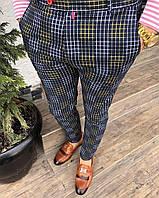 Стильные мужские демисезонные брюки черные в разноцветную клетку (Турция) - 40, 42, 44, 46, 48, 50