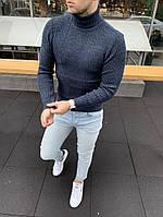 Молодіжний чоловічий зимовий светр-гольф з підворотом синій