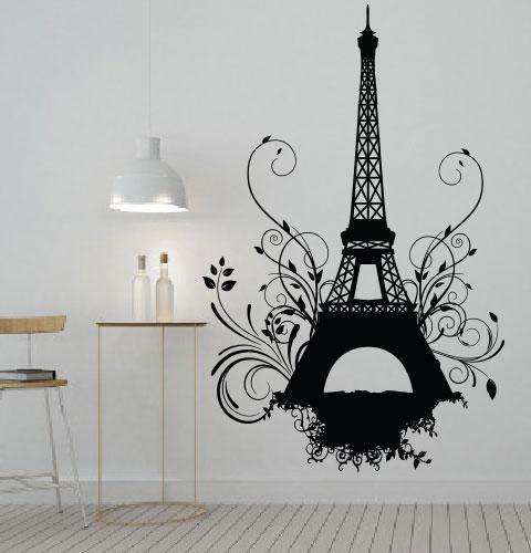 Виниловая наклейка Эйфелева башня гранж с завитушками (Париж романтические наклейки) матовая 970х1500 мм