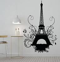 Виниловая наклейка Эйфелева башня гранж с завитушками (Париж романтические наклейки) матовая 970х1500 мм, фото 1
