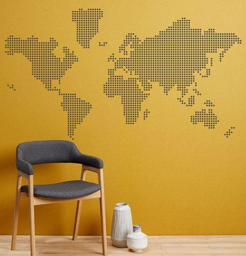 Виниловая наклейка Абстрактная карта мира из кружочков-точек (пиксели необычные наклейки) матовая 1500х830 мм