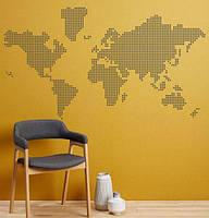 Виниловая наклейка Абстрактная карта мира из кружочков-точек (пиксели необычные наклейки) матовая 1500х830 мм, фото 1