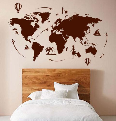 Виниловая наклейка Карта мира путешественника (карта воздушные шары самолеты материки) матовая 1000х520 мм