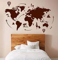 Виниловая наклейка Карта мира путешественника (карта воздушные шары самолеты материки) матовая 1000х520 мм, фото 1