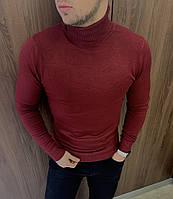 Бордовий чоловічий осінньо-весняний гольф (светр з горлом)