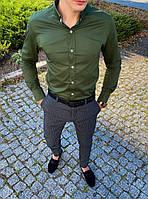 """Рубашка с длинным рукавом мужская однотонная хлопковая """"Орел"""" цвет хаки"""