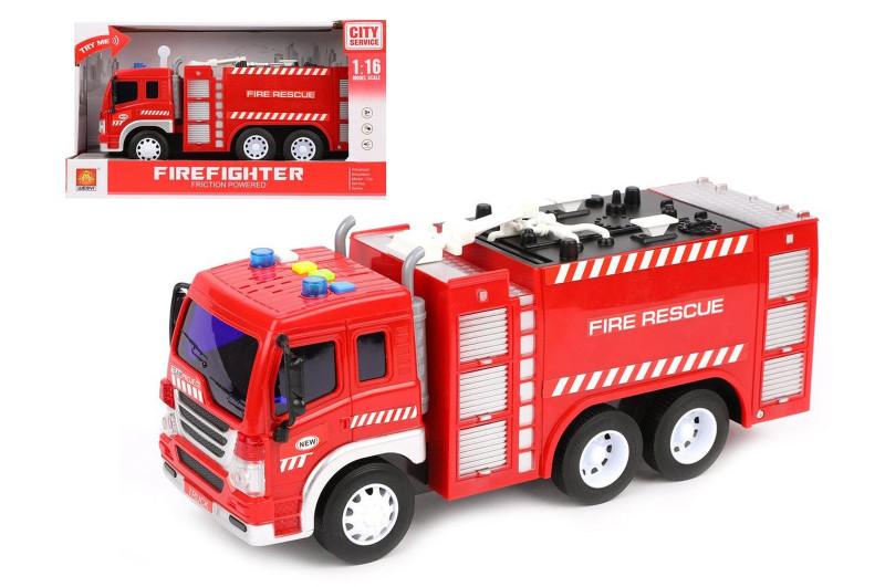 Пожарная машина красная WY350A, масштаб 1:16, муз. свет