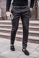 """Штаны-брюки под ремень мужские зауженные """"100%"""" весна-осень цвет темный хаки"""
