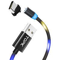 Магнитный кабель USB 1m Topk Z-line LED Type-C Black (3872-10858)
