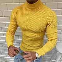 Стильный мужской трикотажный однотонный желтый гольф - размер S