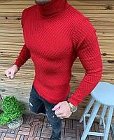 Мужской демисезонный однотонный свитер-гольф под горло красный - S
