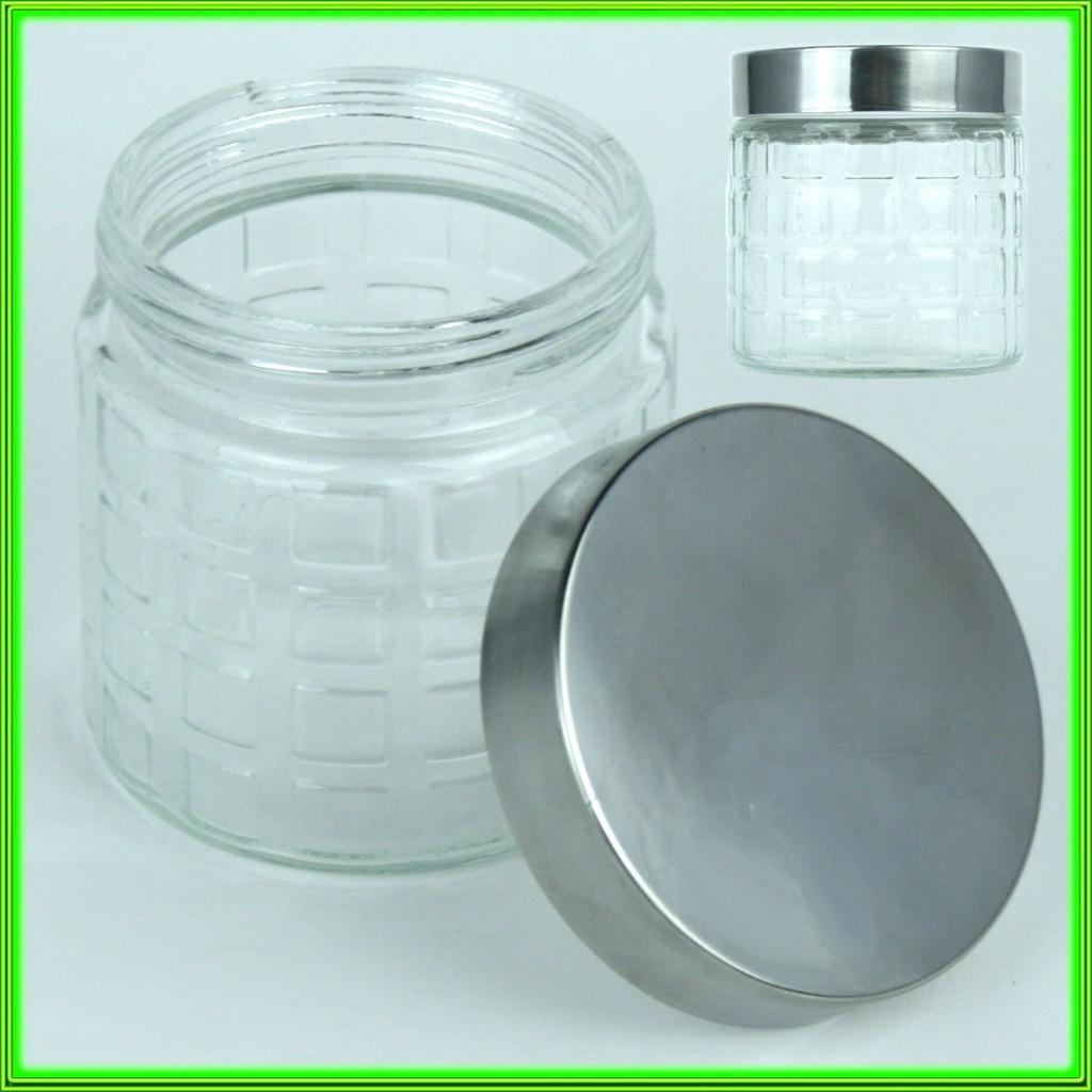 Баночка стеклянная для сыпучих продуктов с металической крышкой V0.800л._D11см H12см