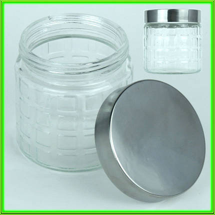 Баночка стеклянная для сыпучих продуктов с металической крышкой V0.800л._D11см H12см, фото 2