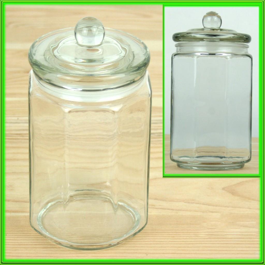 Банка для сипких продуктів скляна з скляною кришкою V550мл_D 8см Н16см