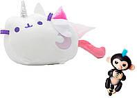 Комплект Мягкая игрушка кот лунный единорог Pusheen cat и Игрушка интерактивная Happy Monkey (n-666)