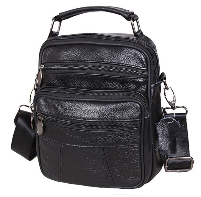 Мужская кожаная сумка через плечо добротная барсетка из кожи кожа 21х18х9см 8s101 черная Польша от 5шт
