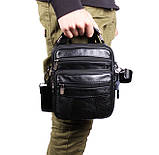 Мужская кожаная сумка через плечо добротная барсетка из кожи кожа 21х18х9см 8s101 черная Польша от 5шт, фото 2