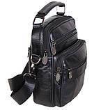 Мужская кожаная сумка через плечо добротная барсетка из кожи кожа 21х18х9см 8s101 черная Польша от 5шт, фото 3