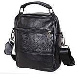 Мужская кожаная сумка через плечо добротная барсетка из кожи кожа 21х18х9см 8s101 черная Польша от 5шт, фото 5
