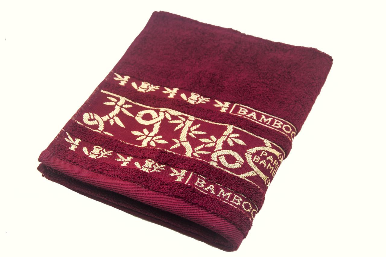 Рушник махровий Parisa Бамбук 70х140 см бавовняне Бордовий (1005161)